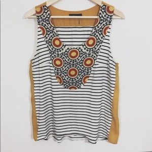 THML stripe embroidered mixed print swing tank top